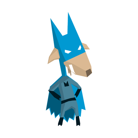 crime fighter: Goat Super Hero Character Flat Geometrical Design Cool  Vector Icon On White Background