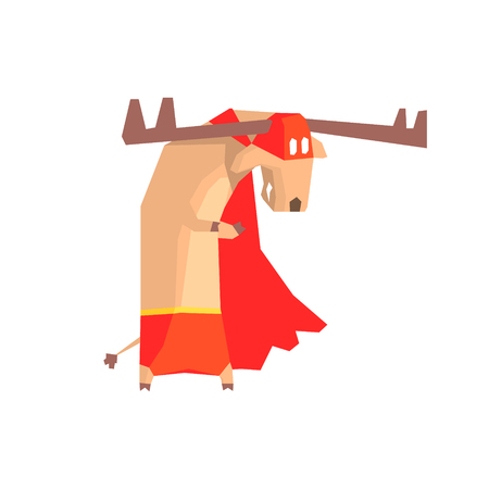 clumsy: Moose Super Hero Character Flat Geometrical Design Cool  Vector Icon On White Background Illustration