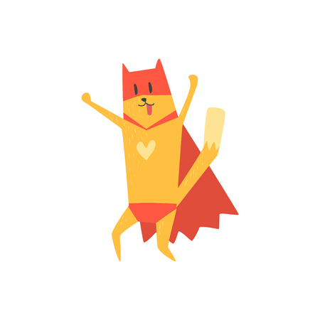 simplified: Super Hero Cat Cheering Flat Geometrical Design Cool  Vector Icon On White Background