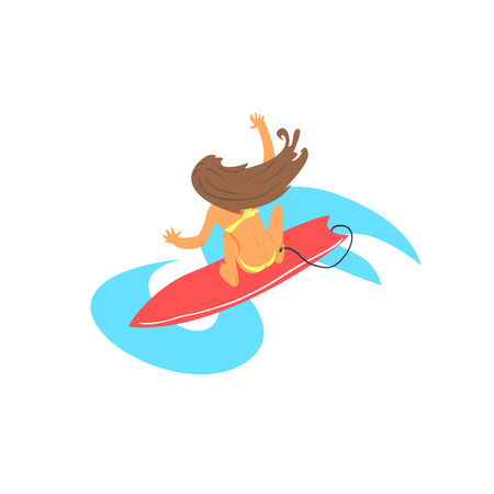 brown haired girl: Brown-haired Girl On Surfboard From Above Flat Isolated Cartoon Simple Design Illustration In Bright Colors On White Background Illustration