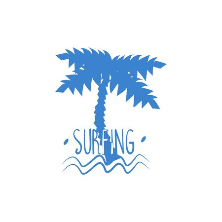 Palm Tree With Text Blue Silhouette Stylized Design Vector Print On White Background