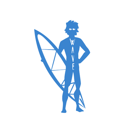 guy standing: Guy Standing With Surfboard Blue Silhouette Stylized Design Vector Print On White Background Illustration