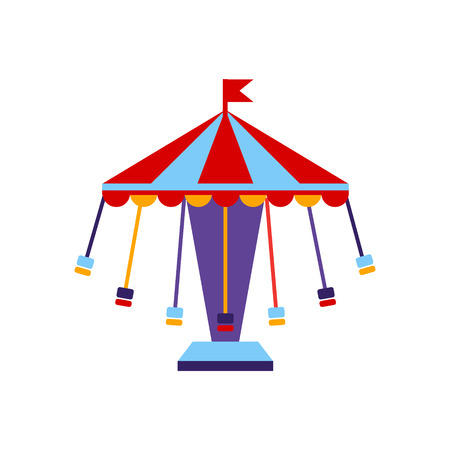 sits: Carousel With Sits On Chains Primitive Colorful Style Flat Isolated Vector Icon On White Background Illustration