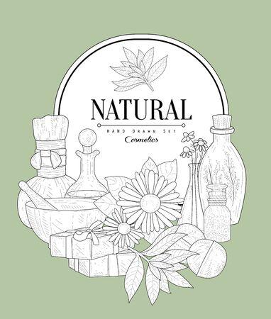 natural beauty: NAtural Cosmetics Vintage Vector Hand Drawn Design Card Illustration