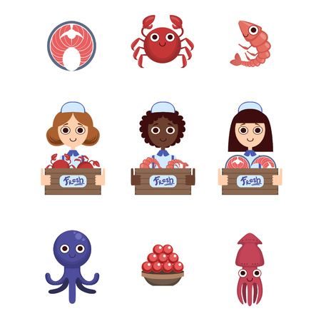 vendors: Fish Market With Female Vendors Flat Simlified Design Vector Set Of Isolated Icons On White Background