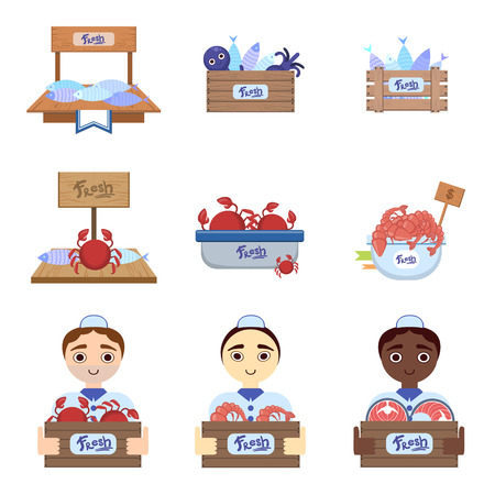 vendors: Fish Market  With Male Vendors Flat Simlified Design Vector Set Of Isolated Icons On White Background