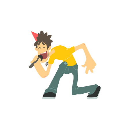 spiky: Guy With Spiky Hair Singing In Karaoke Flat Isolated Simple Cartoon Style Vector Illustration On White Background