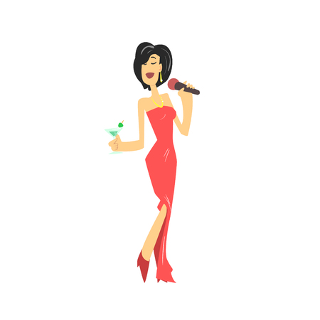girls having fun: LAdy In Red Dress Singing In Karaoke Flat Isolated Simple Cartoon Style Vector Illustration On White Background