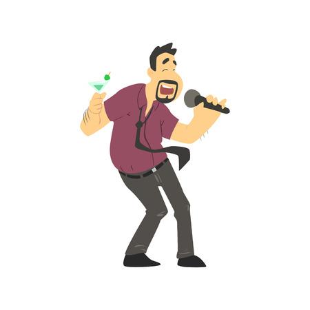 people having fun: Drunk Man Singing In Karaoke Flat Isolated Simple Cartoon Style Vector Illustration On White Background