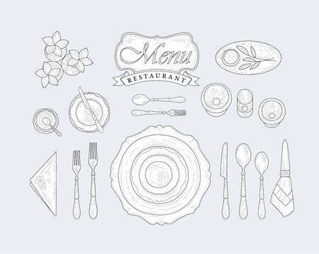 appointment: Restaurant Table Appointment Vintage Vector Hand Drawn Design Card Illustration