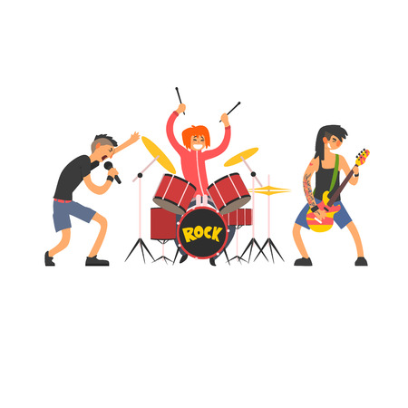 lead guitar: Rock Band Vector Illustration In Primitive Cartoon Childish Style Isolated On White Background Illustration