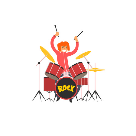 drumming: Girl Drummer Vector Illustration In Primitive Cartoon Childish Style Isolated On White Background