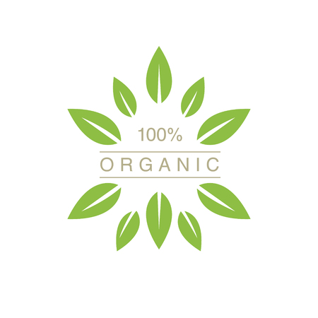 spiky: Organic Product Logo With Spiky Leaves Cool Flat Vector Design Template On White Backgeound Illustration