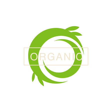 Green Swirl Organic Product Logo Cool Flat Vector Design Template On White Backgeound Stock Vector - 55499627