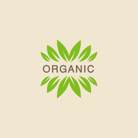 concise: Text With Leaf Crowning Organic Product Logo Cool Flat Vector Design Template On White Backgeound Illustration