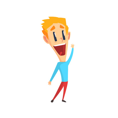 rejoicing: Redhead Male Character Rejoicing Primitive Geometric Design Flat Isolated Vector Image Illustration