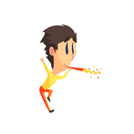 rapturous: Black Hair Male Character With Firecracker Primitive Geometric Design Flat Isolated Vector Image