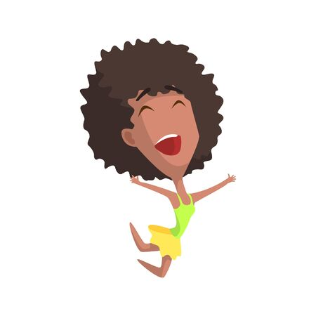 African Curly Female Character Rejoicing Primitive Geometric Design Flat Isolated Vector Image
