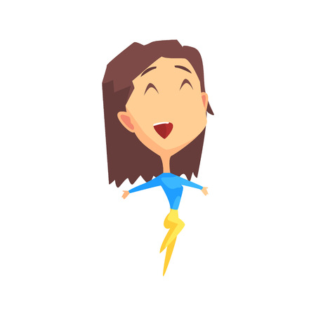 ecstatic: Brown Hair Female Character Rejoicing Primitive Geometric Design Flat Isolated Vector Image Illustration