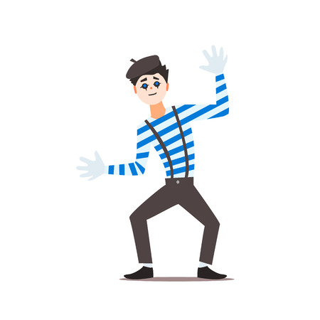 mime: Classic French Mime Isolated Primitive Design Style Vector Illustration on White Background