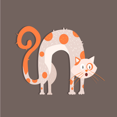 arched: Cat With Arched Back Funny Flat Vector Illustration In Creative Applique Style