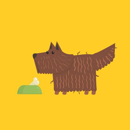 scottie: Scottish Terrier With Food Bowl Funny Flat Vector Illustration In Creative Applique Style