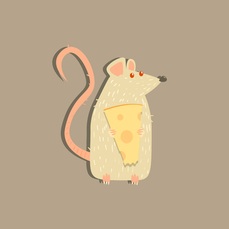 albino: Rat Holding Cheese Funny Flat Vector Illustration In Creative Applique Style