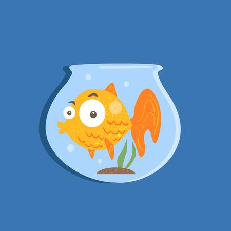 golden fish: Golden Fish In Aquarium Funny Flat Vector Illustration In Creative Applique Style Illustration