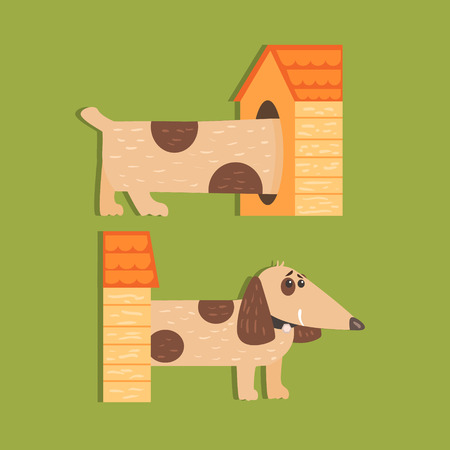 separated: Dachshund Separated Halves Funny Flat Vector Illustration In Creative Applique Style