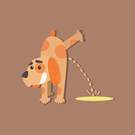 創造的なアップリケ スタイルで犬おしっこ面白いフラット ベクトル図  イラスト・ベクター素材