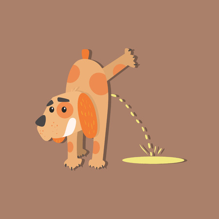 Dog Peeing Funny Flat Vector Illustration In Creative Applique Style