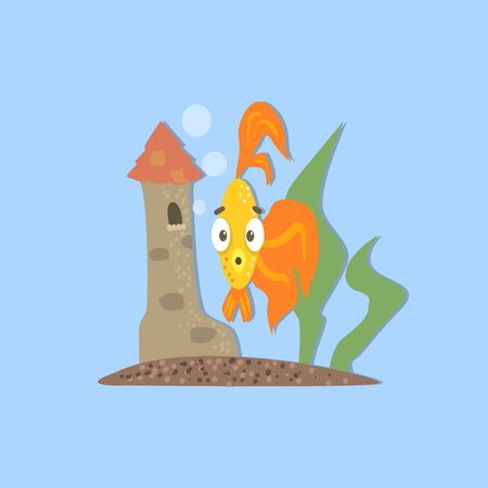 seagrass: Golden Fish With Castle Funny Flat Vector Illustration In Creative Applique Style Illustration