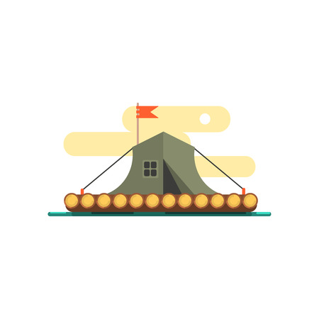 raft: Tent On The Raft On Water Primitive Style Graphic Colorful Flat Vector Image On White Background Illustration