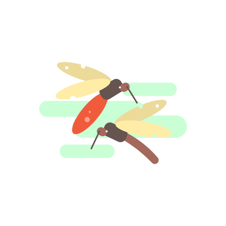 mosquitos: Two Mosquitos Primitive Style Graphic Colorful Flat Vector Image On White Background