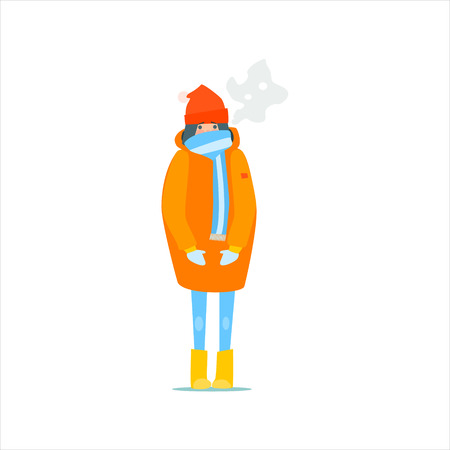 Meisje in laag Oranje Winter Primitieve Vector Flat geïsoleerd illustratie op witte achtergrond