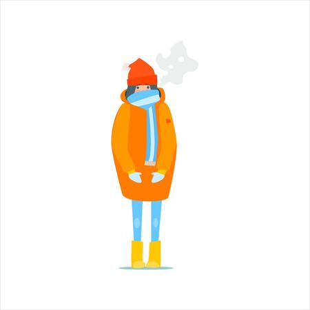 Girl In Orange Winter Coat Primitive Vector Flat Isolated Illustration On White Background