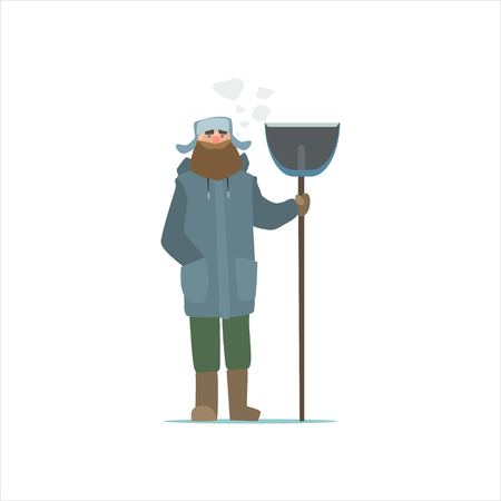 janitor: Janitor Outside In Winter Primitive Vector Flat Isolated Illustration On White Background