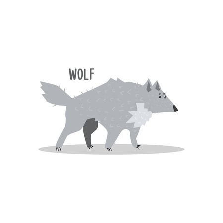 pelt: Wolf Drawing For Arctic Animals Collection Of Flat Vector Illustration In Creative Style On White Background Illustration