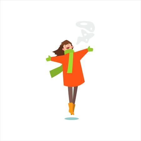 white coat: Jumping Girl In Winter Coat Primitive Vector Flat Isolated Illustration On White Background