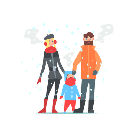 family outside: Family Outside In Winter Primitive Vector Flat Isolated Illustration On White Background