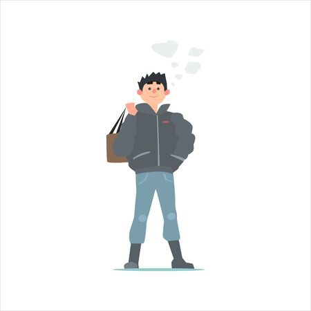 simplified: Guy In Black Winter Jacket Primitive Vector Flat Isolated Illustration On White Background