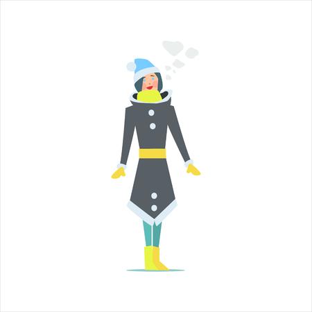 white coat: Girl In Winter Long Coat Primitive Vector Flat Isolated Illustration On White Background