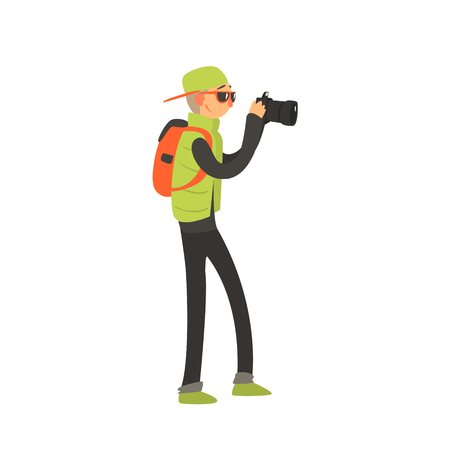taking photo: Guy With Backpack Taking Photo Childish Style Flat Vector Drawing On White Background