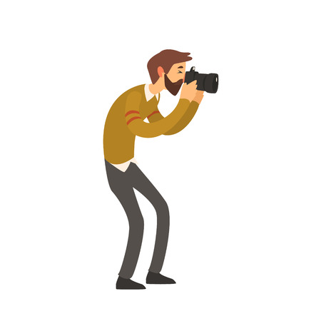 simplified: Beardy Man Taking Photo Childish Style Flat Vector Drawing On White Background