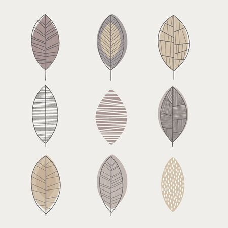 similar: Similar Shape Leaf Hand Drawn Monochrome Set In Cool Doodle Style Color On White Background
