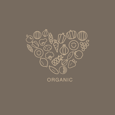 composed: Heart Shaped Logo Composed Of Fruits And Vegetables Drawn In Contour Flat Vector Creative Design Image On Brown Background Illustration