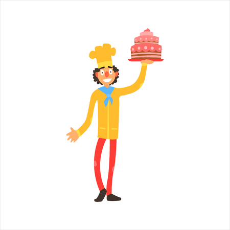 yelllow: Profession Confectioner  Primitive Cartoon Style Isolated Flat Vector Illustration On White Background Illustration