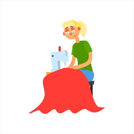 simplified: Profession Seamstress  Primitive Cartoon Style Isolated Flat Vector Illustration On White Background Illustration
