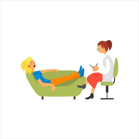 Femme Psychanalytique Primitive Style Cartoon Isolé plat Illustration Vecteur Sur fond blanc Vecteurs