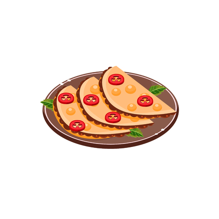 mexican food plate: Three Quesadillas On Plate  Traditional Mexican Cuisine Sample Vector Drawing In Realistic Cartoon Style Isolated On White Background